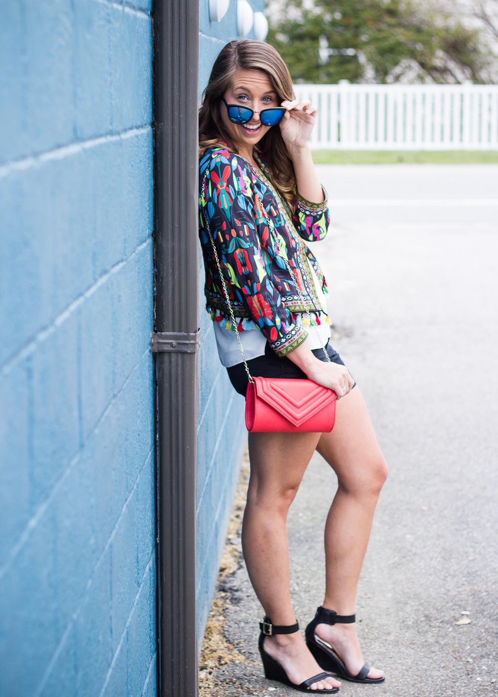 multicolored blazer