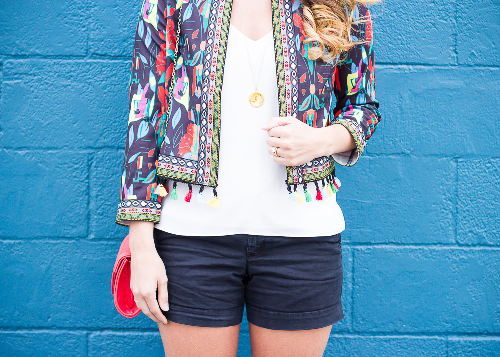 multicolored blazer