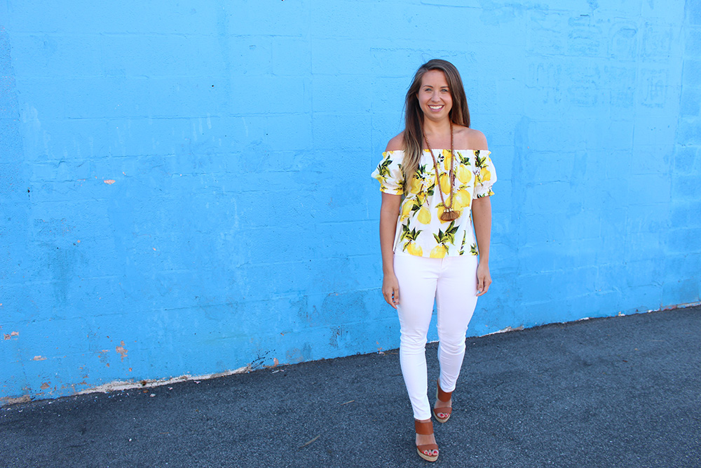 off the shoulder lemon top